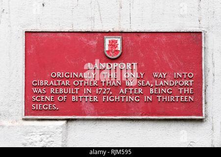 Landport signage Gibraltar - Stock Image