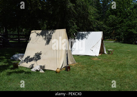The camp in a reenactment of the battle of Guilford Courthouse. - Stock Image