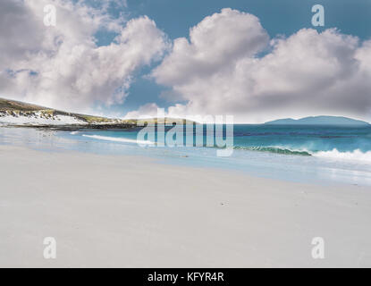 West Falkland Islands beautiful seascape with white sand beach, turquoise water and fluffy clouds. - Stock Image