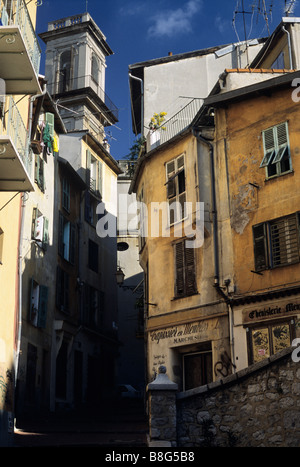 Rue Saint Augustin Vieux Nice (Old Nice) Cote d'Azur, Provence, France. - Stock Image