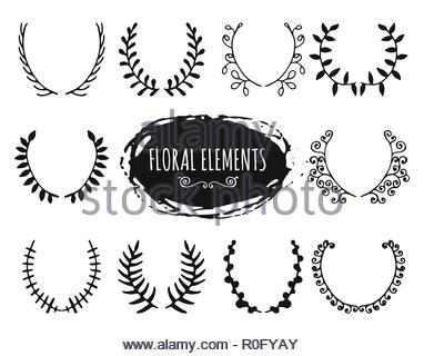 Hand drawn floral doodle design elements - Stock Image