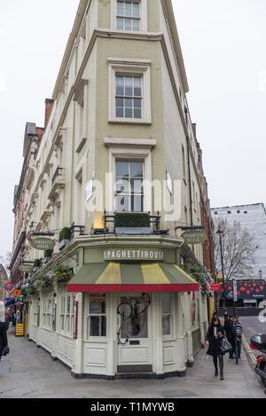 The Spaghetti House Italian, pasta and pizza restaurant in Cranbourne Street, Covent Garden, London, England, UK - Stock Image