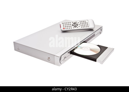 DVD player ejecting disc with remote control isolated on white background - Stock Image