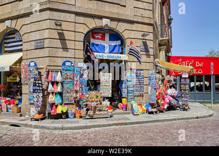 Tourist gift shop in St Malo, Brittany, France - Stock Image