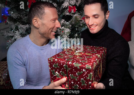Smiling gay couple exchange christmas gift in front of tree with red ribbons - Stock Image
