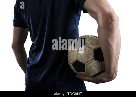 Soccer player with soccerball ready to play. Isolated on white background. - Stock Image