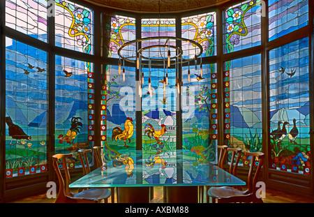 ESP Spain Barcelona Paseig de Gracia Casa Lleo Morera by architect Montaner interieur beautiful glas art rondel glas table simil - Stock Image