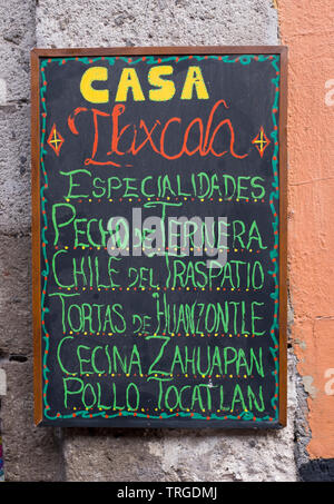Restaurant Menu Board Outside Cafe Bar in Mexico City - Stock Image