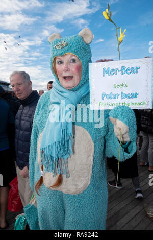 A woman in costume - part polar bear part mermaid - on the boardwalk prior to  the annual Polar Bear Club New Year's day swim in Coney Island, NYC. - Stock Image