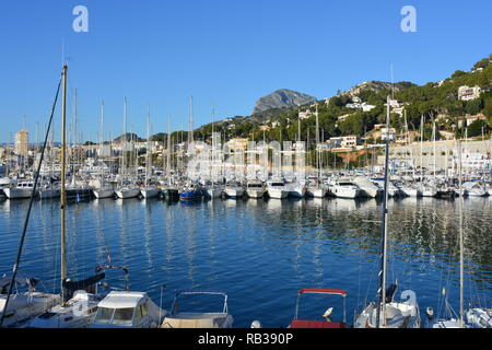 Yachts in port, with Montgo mountain behind, Javea, Xabia, Alicante Province, Comunidad Valencia, Spain - Stock Image