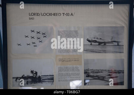 Description board about Lockheed IT-33A-1LO airplane at display in Serbian Aeronautical museum in Belgrade - Stock Image