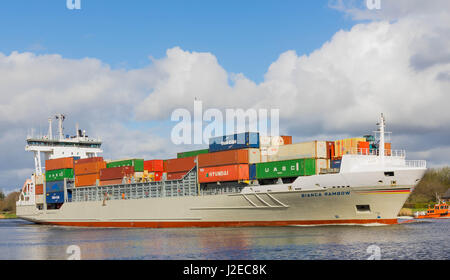 Rendsburg, Germany, April 15, 2017, Container ship 'Bianca Rambow' in the North Sea Baltic Canal - Stock Image