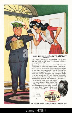 1943 U.S. Magazine General Tyres Advert - Stock Image