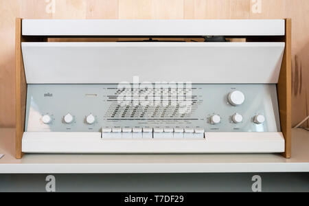 Iconic 20c Braun early white metal and beech radio designed by Dieter Rams - Stock Image