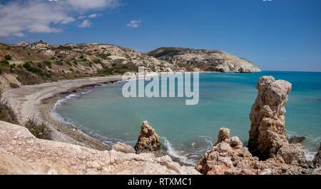 Petra tou Romiou bay in Cyprus. - Stock Image