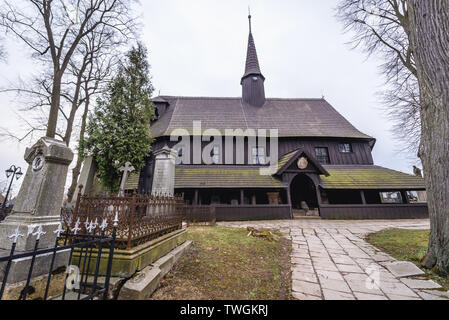 Cemetery Church of the Virgin Mary in Broumov town in Nachod District of Czech Republic, oldest preserved all-wood construction in Central Europe - Stock Image