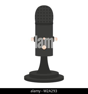Microphone flat icon, audio equipment vector illustration isolated on white background - Stock Image