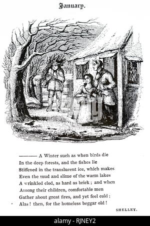 An engraving depicting a cottager bringing home a load of firewood - Stock Image