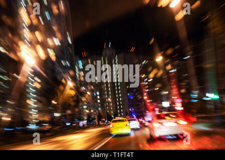 moving night traffic lights trails abstract background - Stock Image