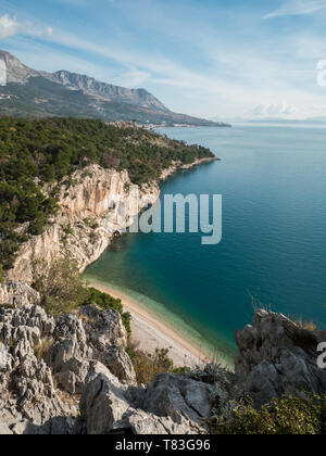 Hidden famous beach view from the cliff in Croatia on sunny summer day - Stock Image