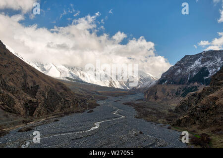 Dry Riverbed in the Caucasus Mountains, Nothern Georgia, taken in April 2019rn' taken in hdr - Stock Image