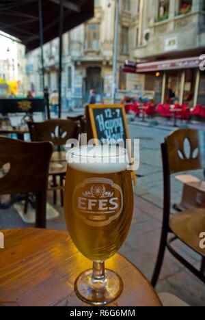Half litre of local beer, Beyoglu, Istanbul, Turkey, Eurasia - Stock Image