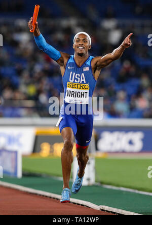 YOKOHAMA, JAPAN - MAY 12: Dontavius Wright of the USA wins the race in the mixed 4x400m final during Day 2 of the 2019 IAAF World Relay Championships at the Nissan Stadium on Sunday May 12, 2019 in Yokohama, Japan. (Photo by Roger Sedres for the IAAF) - Stock Image