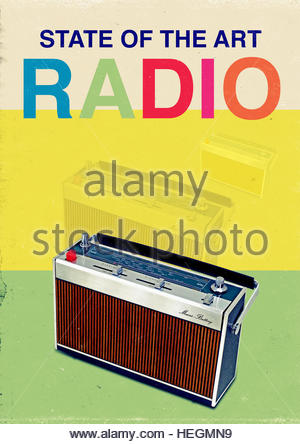 vintage radio mid century retro kitsch lifestyle - Stock Image