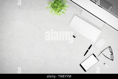 top view of concrete desktop with office stuff 3d rendering mockup - Stock Image