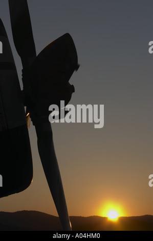 Aircraft propeller at sunset - Stock Image