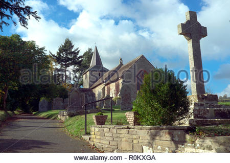 St.Mary's Church in the Welsh village of Gladestry, in Powys, Wales, UK. - Stock Image