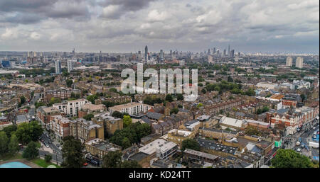Aerial dolly view of a residential Victorian village in South London - Stock Image