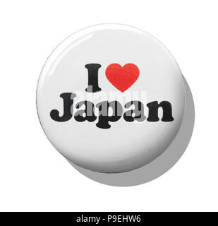 A white I love Japan badge - Stock Image