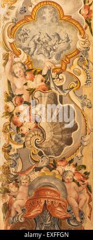 GRANADA, SPAIN - MAY 29, 2015: The baroque fresco in Basilica San Juan de Dios, by Diego Sanchez Sarabia, 18. century. - Stock Image