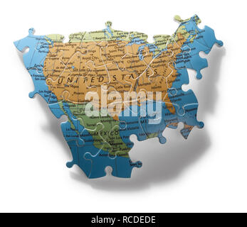 A section of jigsaw puzzle of the United States of America - Stock Image