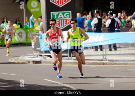 Shinya Wada  competing for Japan in the  World Para Athletics World Cup, Part of the 2018 London Marathon. He finished 8th in a time of 02:42:18 - Stock Image