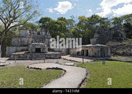 Ancient maya building at Muyil Archaeological site Quintana Roo Mexico - Stock Image