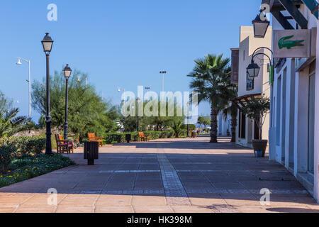 Street sidewalk in Saidia Marina, Lacoste - Stock Image