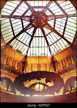 The Block Arcade Domed ceiling at Christmas with decorations in Melbourne Australia - Stock Image