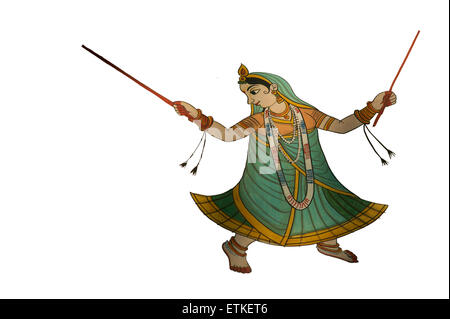Mandawa, Shekawati region, Rajasthan India. Cutaway of painted frieze. Indian dancer - Stock Image