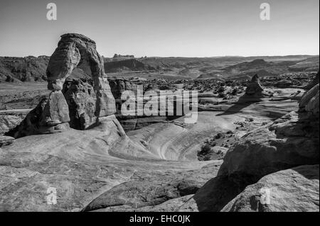 Delicate Arch B&W Arches National Park - Stock Image
