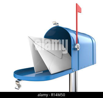 Blue Mailbox, open with 2 envelopes. Isolated on white background. 3D render. - Stock Image