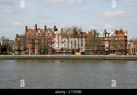 Chelsea Embankment from the South Side of the River Thames, West London, UK. - Stock Image