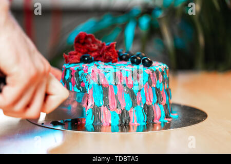 Close up of woman cutting cake with colourful cream. Juicy filling with red berries. - Stock Image