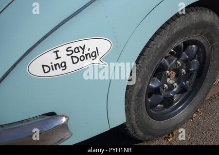 detail of Jaguar MK2 outside The Bell pub in Ticehurst East Sussex, United Kingdom - Stock Image