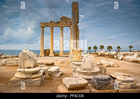 Temple Of Apollo At Side Turkey - Stock Image