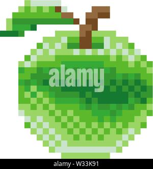 Apple Pixel Art 8 Bit Video Game Fruit Icon - Stock Image