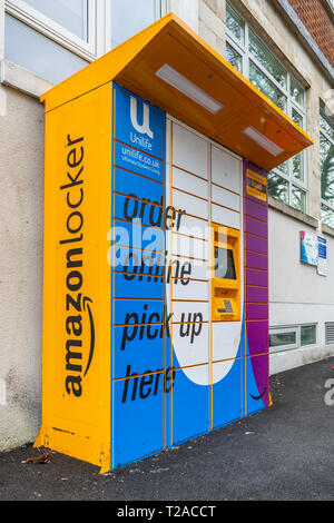 An Amazon locker unit located outside in a public place in Southampton, England, UK - Stock Image