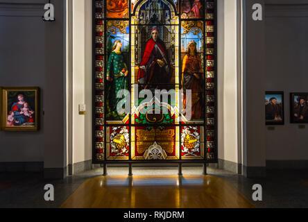 A 19th-century stained glass window by Giuseppe Bertini portraiting Italian poet Dante Alighieri  in the Pinacoteca Ambrosiana art gallery in Milan - Stock Image