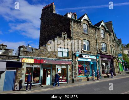 High street shops and cafe,Ambleside,Lake District,Cumbria,England,UK - Stock Image